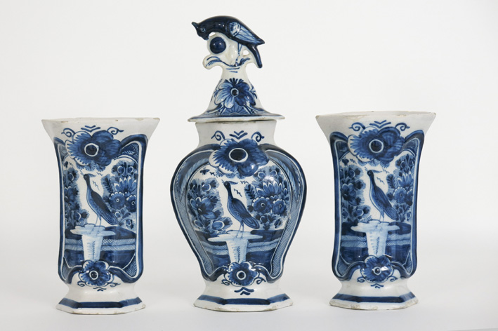 Antique 3pc garniture in marked earthenware from Delft-