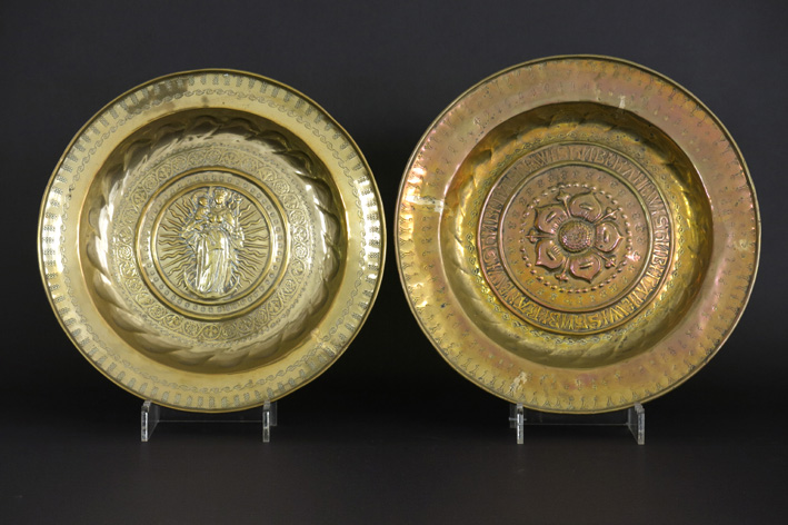 Two antique baptism bassins in brass-
