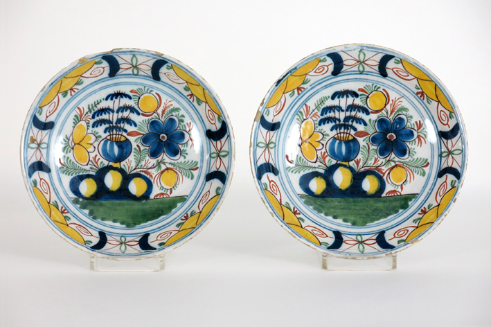 Pair of 18th Cent. pancake plates in earthenware from Delft-