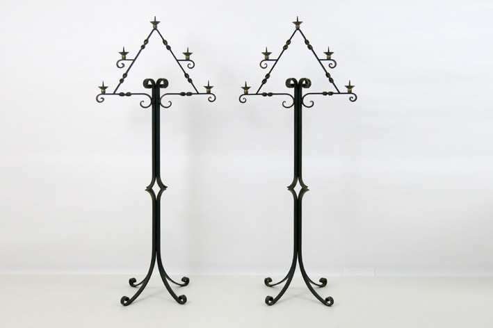 Pair of quite big candelabra in wrought iron-