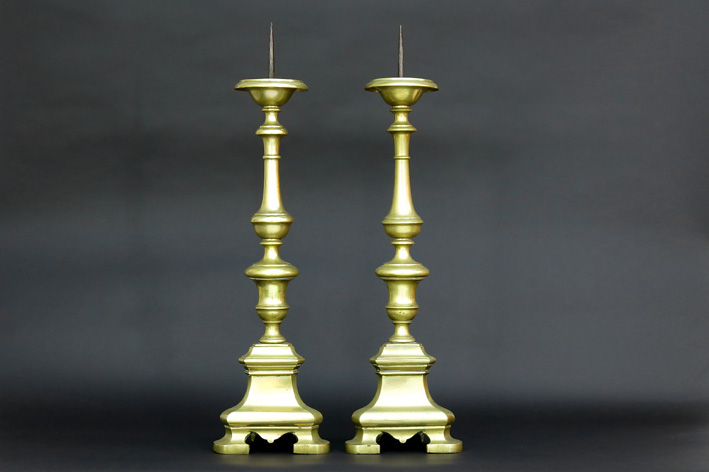 Pair of 17th Cent. Dutch church candlesticks in brass-