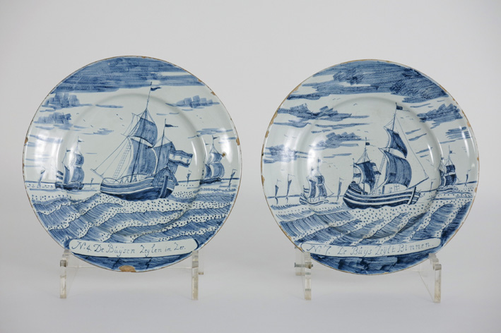 Pair of antique plates in marked earthenware from Delft-