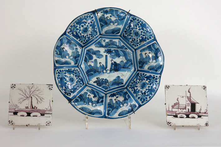 Antique pieces of earthenware from Delft-