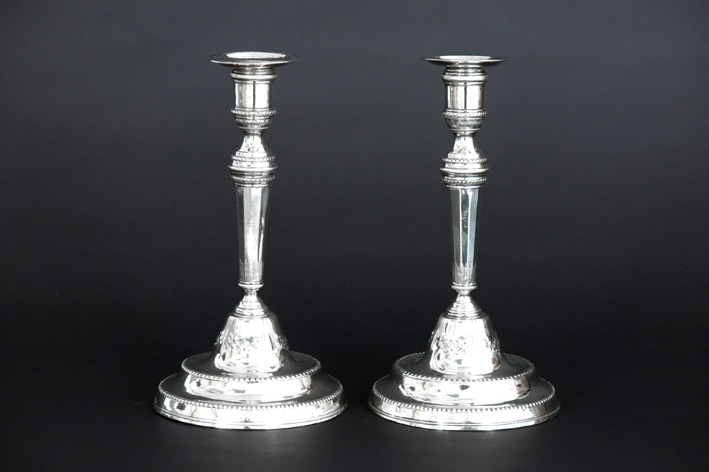 18th Cent. Spanish pair of neoclassical candlesticks (probably made in Cordoba) in silver with several marks-