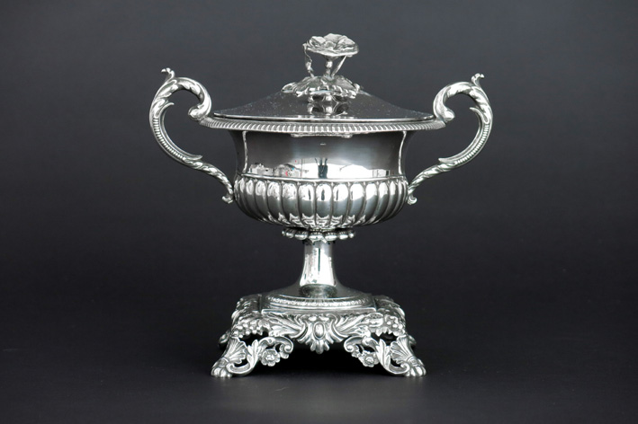 Antique probably eastern European lidded bowl in marked silver-