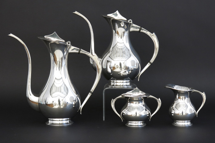 Sixties' 4pc designset of coffee-, teapot, milkjug and a sugar bowl in marked silver-