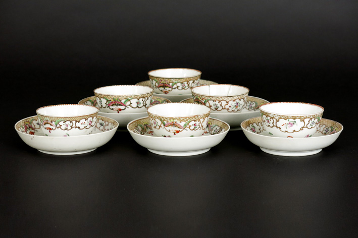 Six 18th Cent. Chinese sets of cup and saucer in porcelain-