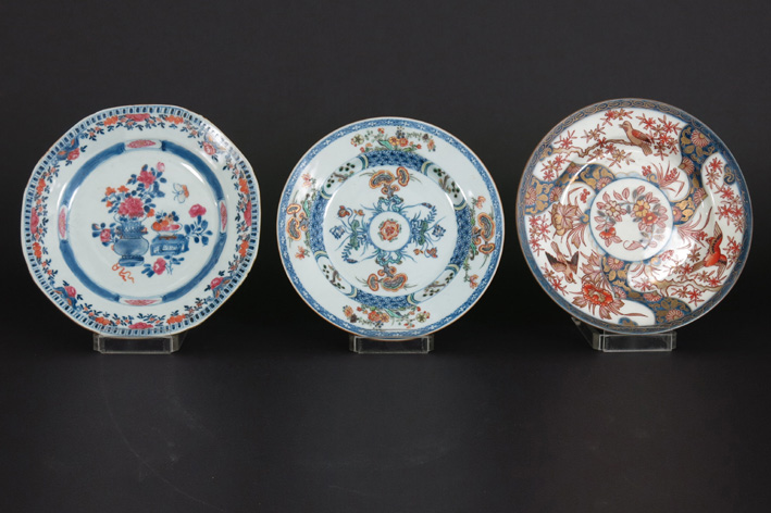 Three 18th Cent. Chinese plates in porcelain-