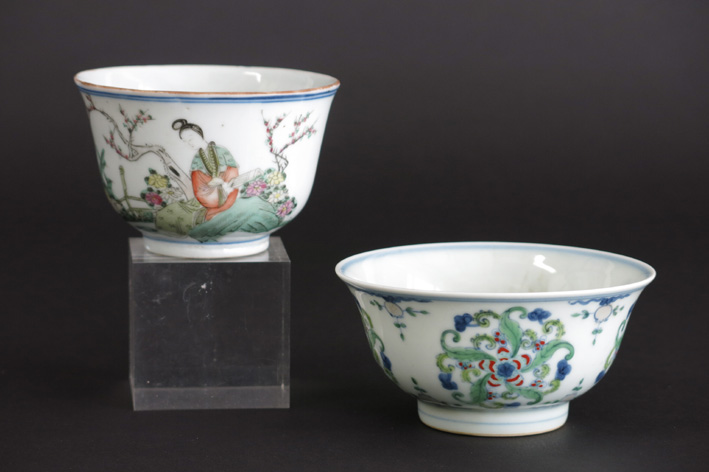 Chinese bowls in marked porcelain, one 'Wucai'-