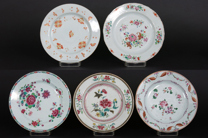 Five 18th Cent. Chinese plates in porcelain-