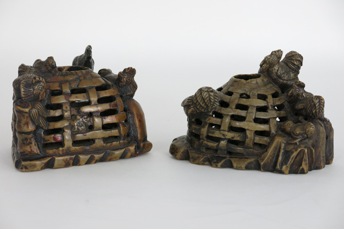 Two Chinese sculptures in carved soapstone with chickens and their coop-