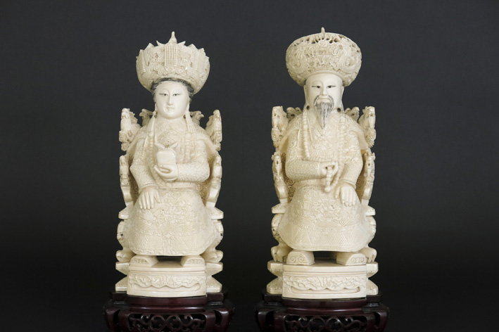 Pair of Chinese sculptures in ivory-1950