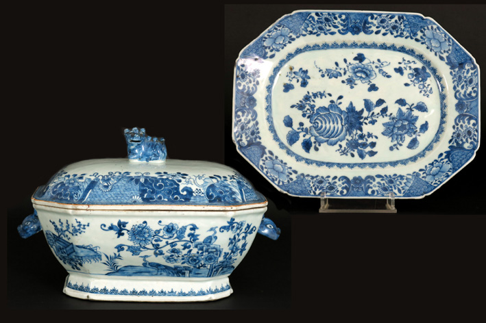 18th Cent. Chinese lidded tureen and dish in porcelain-