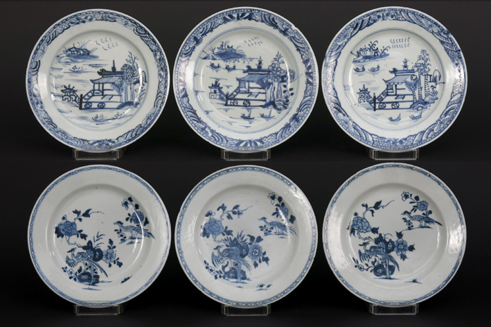 Six Chinese 18th Cent. plates in porcelain-