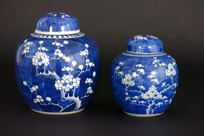 Two Chinese lidded gingerpots in porcelain-