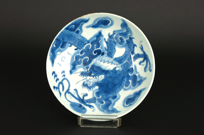 17th/18th Cent. Chinese dish in marked porcelain with dragon-