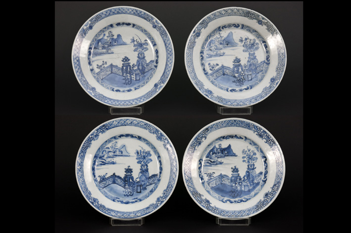 Set of 4 Chinese 18th Cent. plates in porcelain-