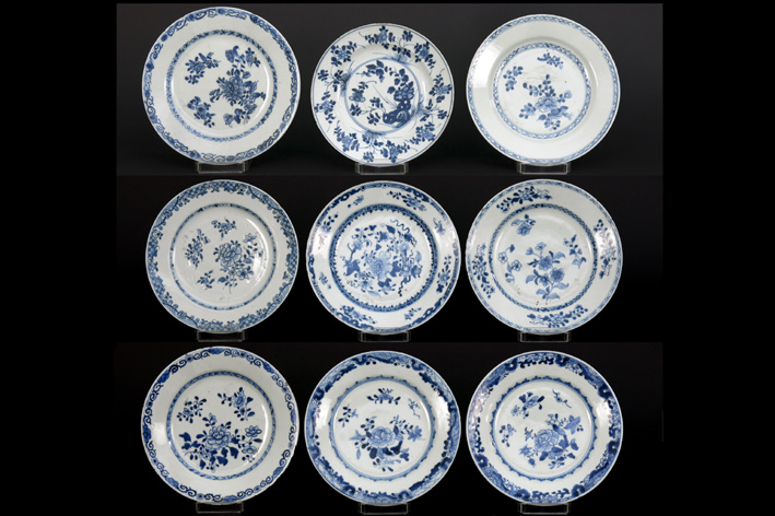 Nine Chinese 18th Cent. plates in porcelain-