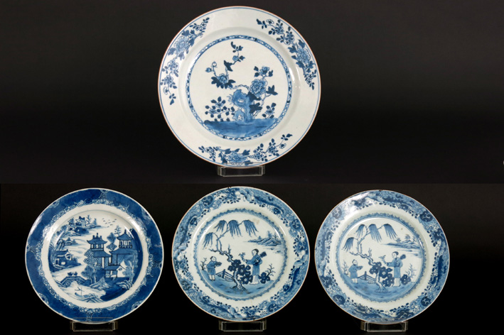 Four 18th Cent. Chinese plates in porcelain-