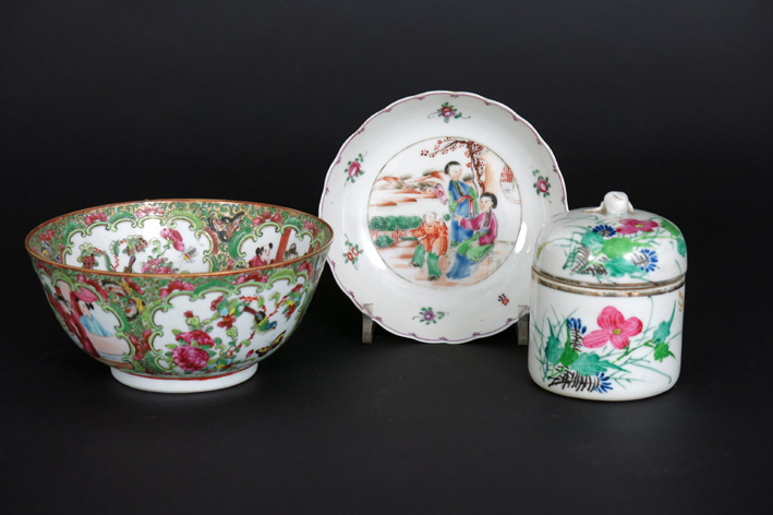 Three pieces of antique Chinese porcelain: a 19th Cent. bowl, a lidded pot and a small 18th Cent. plate-
