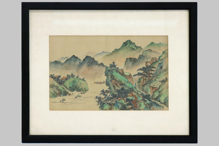 Chinese painting on silk-