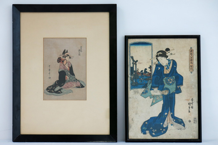 Two Japanese woodcut prints-
