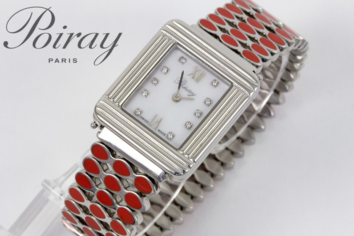 Completely original quartz wristwatch in steel with face in mother of pearl with diamonds-