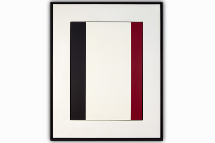 Cortier Amedee - Geometric-abstract composition in black red and white-