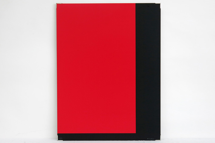 Cortier Amedee - Geometric-abstract composition in black and red-