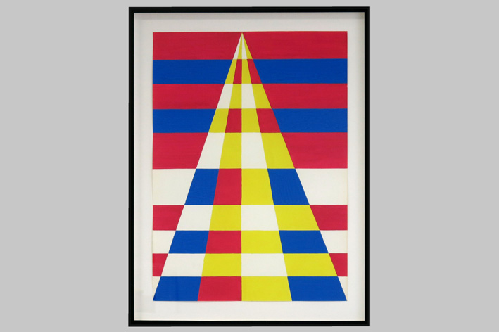 Heyvaert Rene - Geometric-abstract composition with pyramidal shape-1971