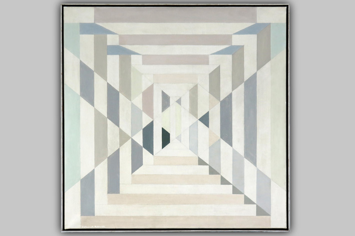 De Roover Carlo - Geometric-abstract composition in pastel tones-