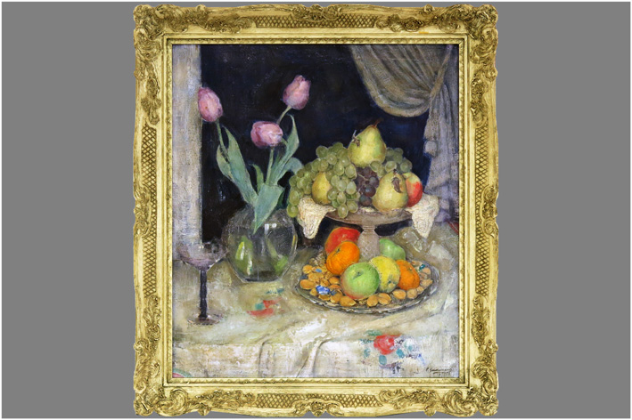 Gastemans Emile - Still life with tulips and fruit-
