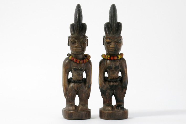 Pair of African Yorouba 'Ibeji' twin sculptures in wood with glass beads-