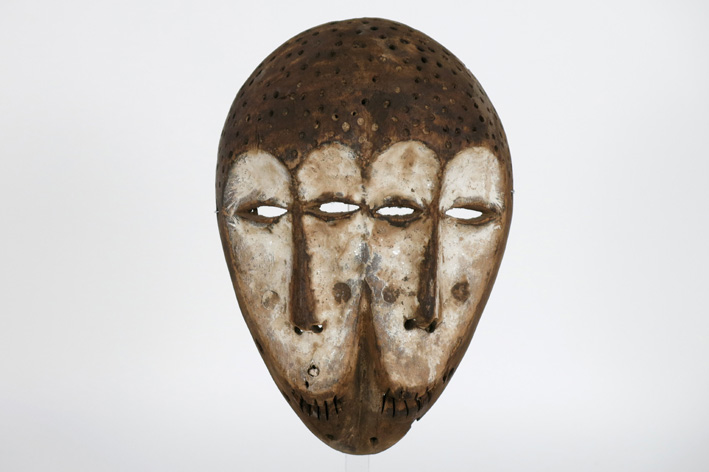 African double 'Lega' mask in wood with pigments-