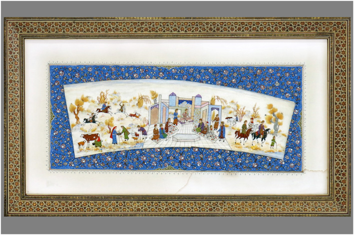 Persian miniature on ivory with a veiw of Ispahan-