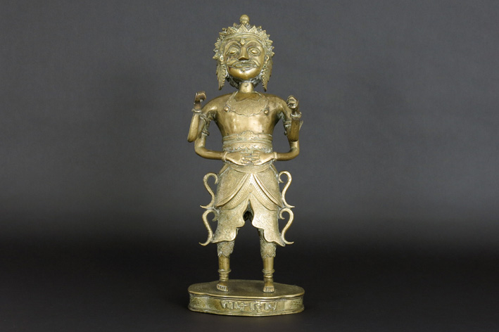Indonesian sculpture in marked bronze-