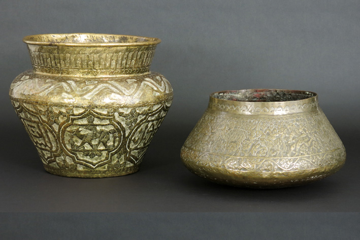 Two antique Persian bowls in brass-
