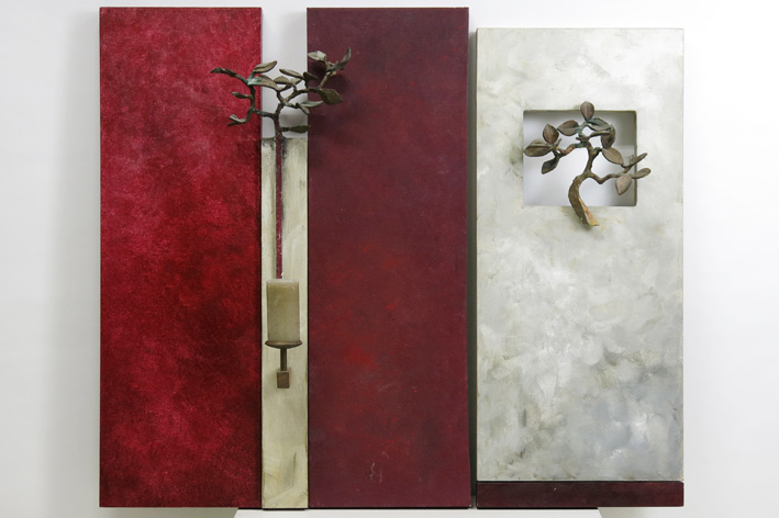 Diptych in mixed media (oil on panel with bronze and wood)-