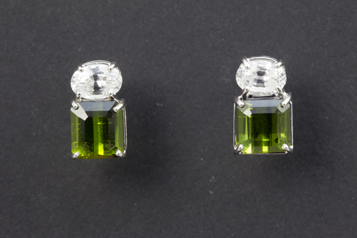 Pair of earrings in white gold (18 carat) with ca 3,50 carat of tourmaline and ca 1,50 carat of white sapphire-