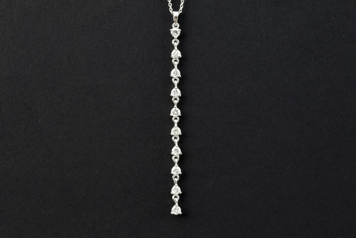 Fine necklace in white gold (18 carat) with a pendant with ca 0,80 carat of very high quality brilliant-