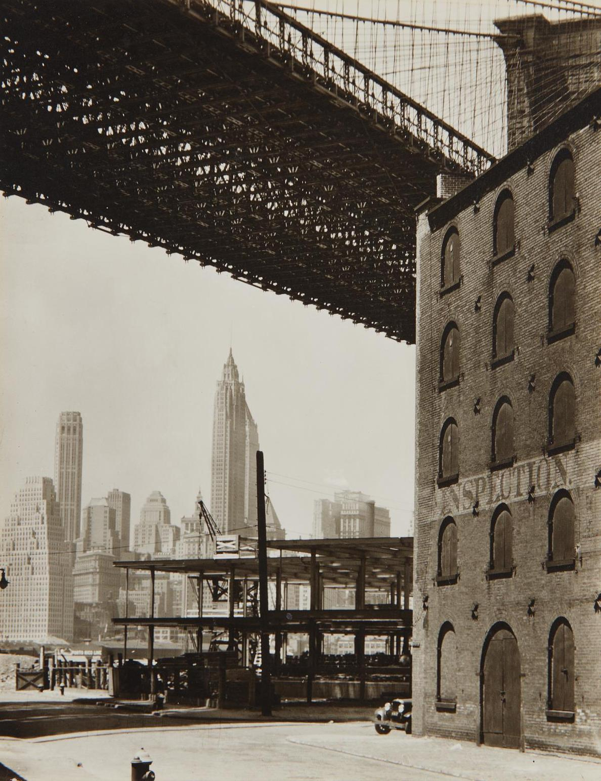 Berenice Abbott-Brooklyn Bridge, Water And Dock Streets, Brooklyn-1936