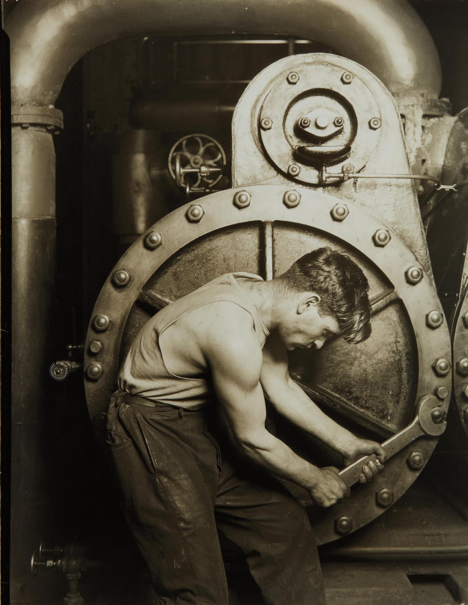 Lewis Wickes Hine-Mechanic At Steam Pump In Electric Power House-1921