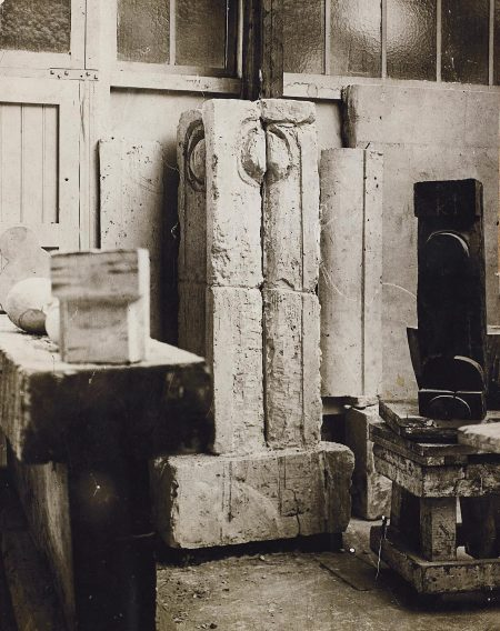 Constantin Brancusi-La Colonne Du Baiser, Fragment (View From The Studio)-1917