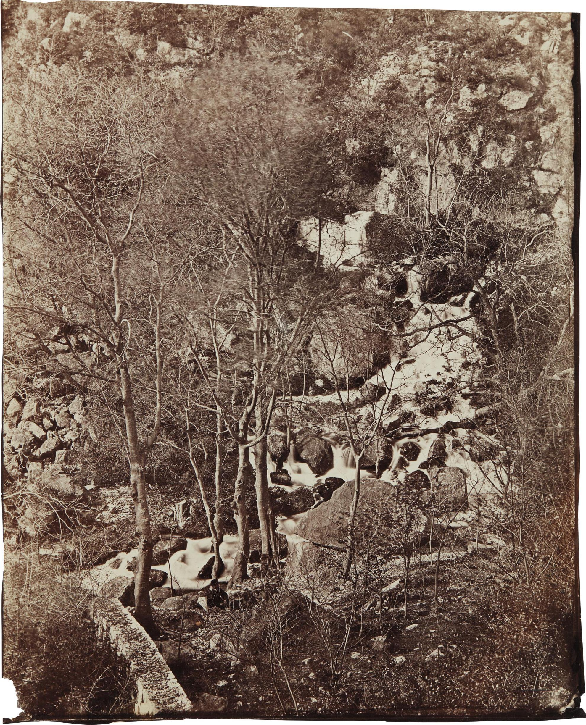 Charles Negre-Versant De La Colline Avec Cascade Et Personnage (Slope Of The Hill With Waterfall And Figure)-1865