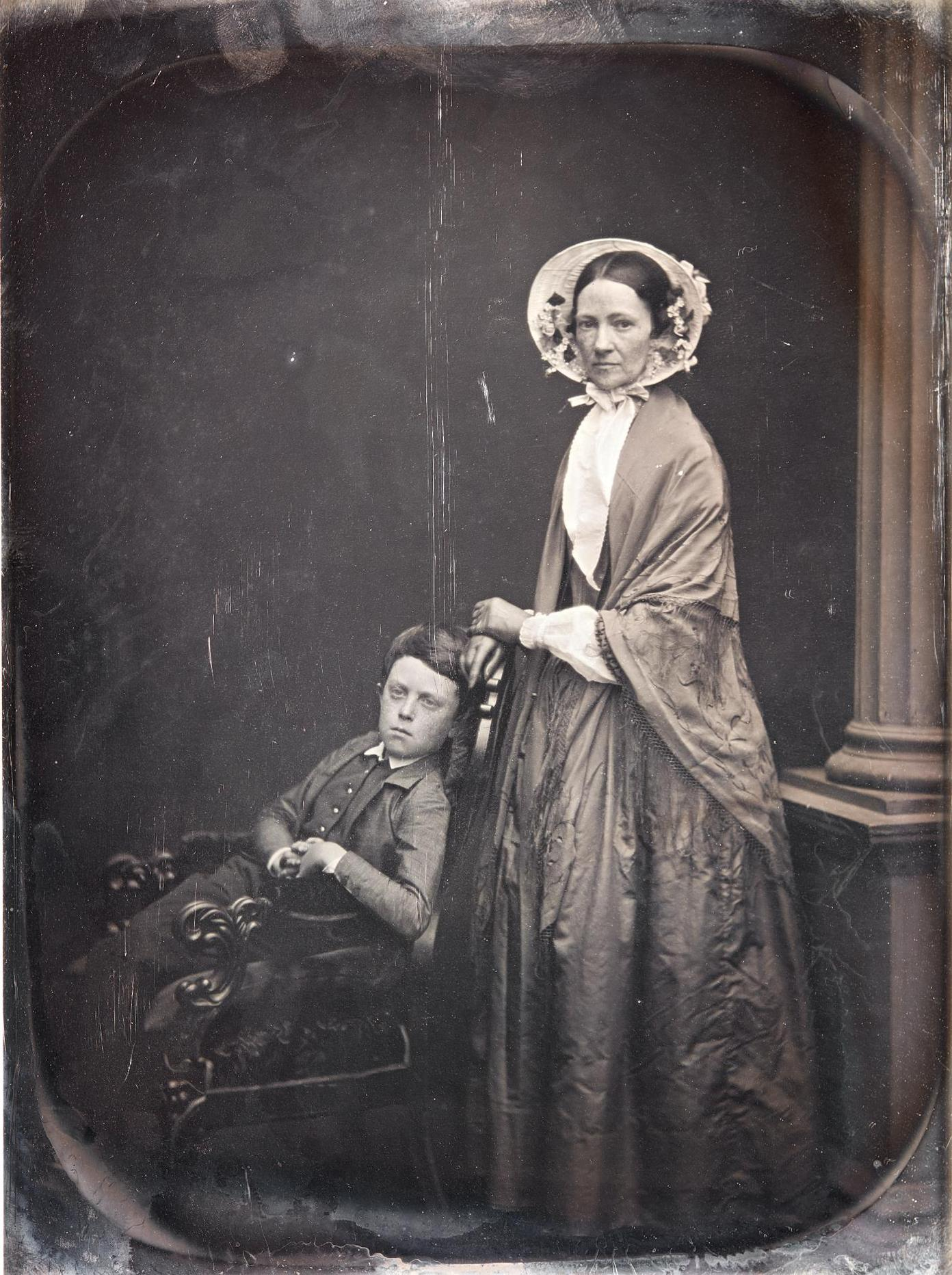 Albert Sands Southworth And Josiah Johnson Hawes - A Woman In Bonnet & Shawl, With Her Seated Son-1850