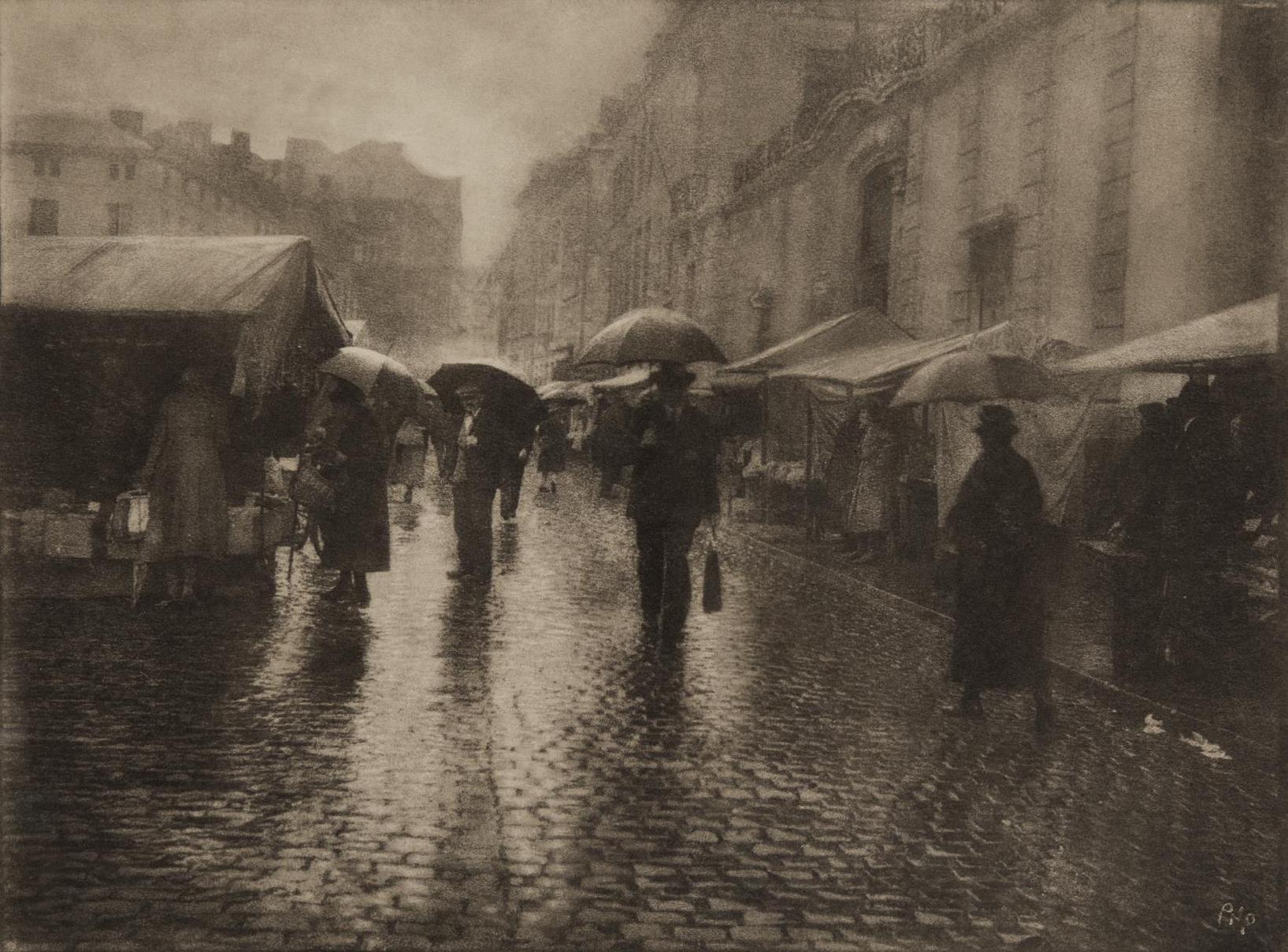 Leonard Misonne - Untitled (Rainy Street Scene)-1930