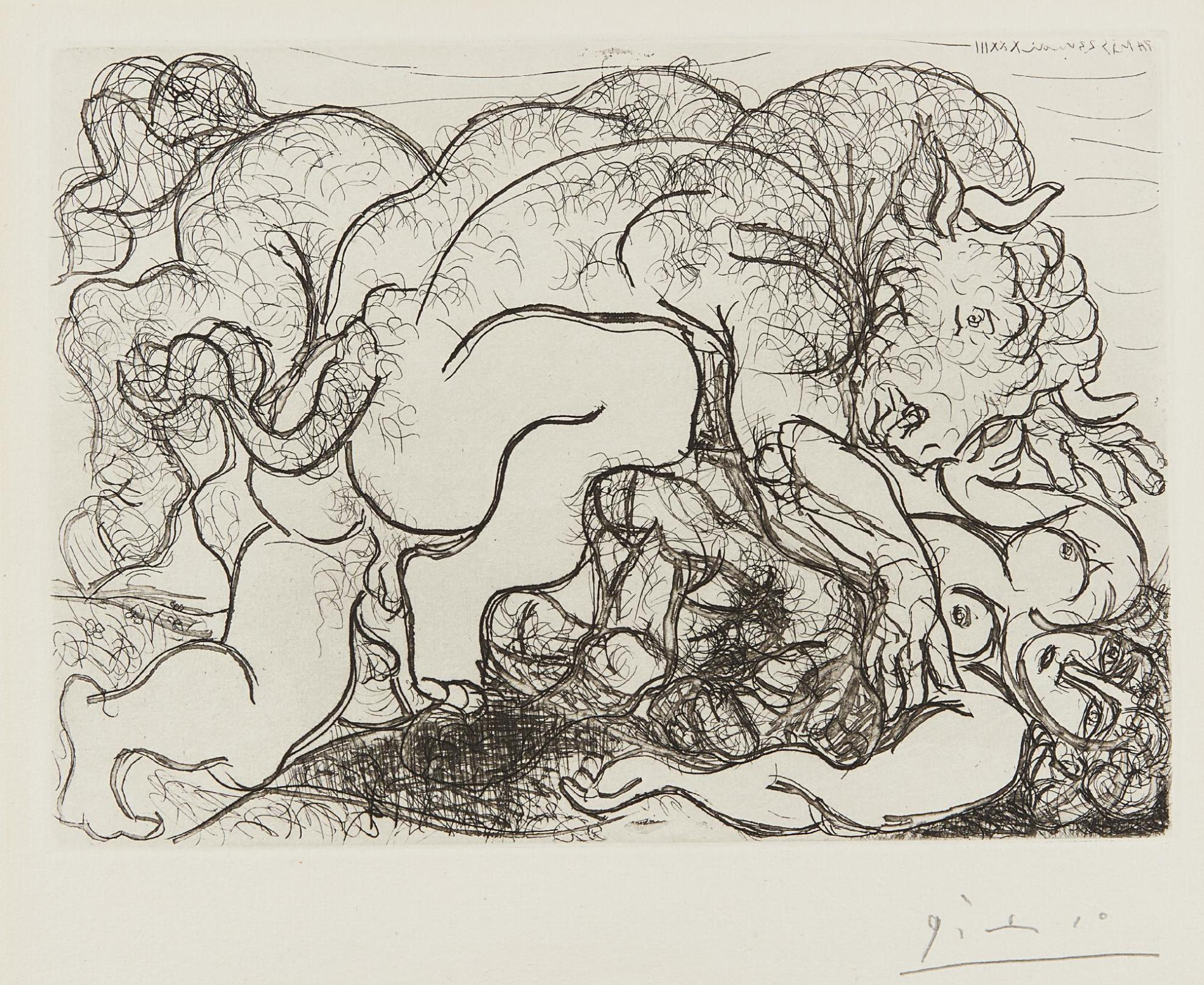 Pablo Picasso-Minotaure Attaquant Une Amazone (Minotaure Attacking An Amazon), Plate 87 From La Suite Vollard-1933