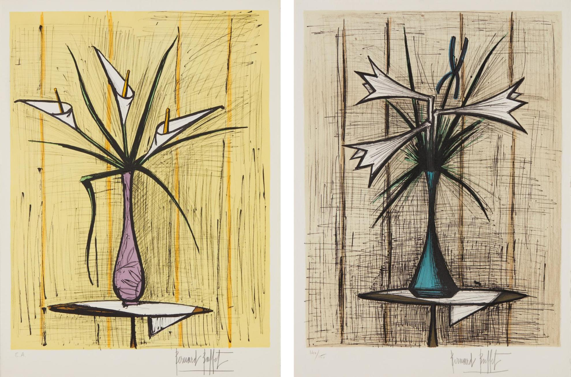 Bernard Buffet-Arums, Fond Jaune (Arums, Yellow Background); And Lys Et Iris (Lilies And Iris)-1980
