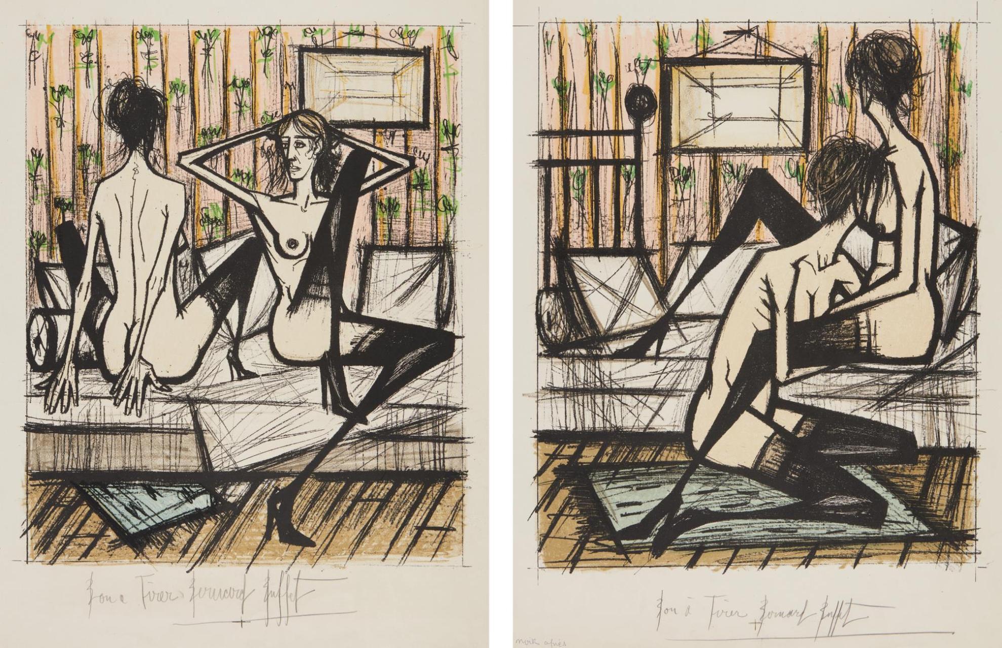 Bernard Buffet-Printemps (Springtime); And Ete (Summer), From Jeux De Dames (Checkers Game)-1970