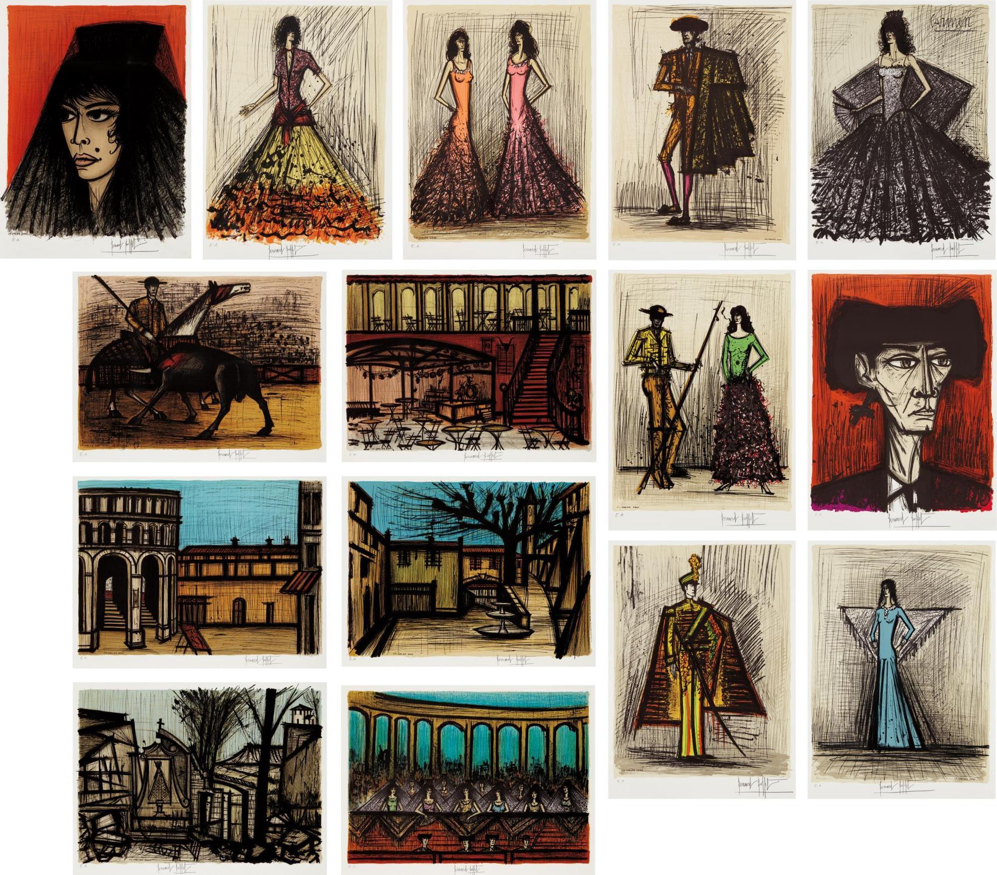 Bernard Buffet-Carmen, Decors Et Costumes (Carmen, Decorations And Costumes), By Charles Sorlier-1981